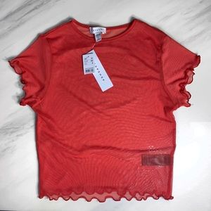 NEW RED TOP SHOP MESH TOP